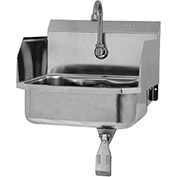 SANI-LAV 607L Wall Mount Sink With Single Knee Pedal Valve And Side Splash Guards