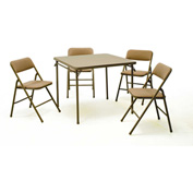 "Cosco® 5-Piece Set - 34"" Square Table & 4 Chairs with 1"" Padded Fabric Seats & Cushioned Backs"