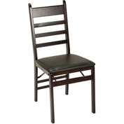 Cosco® Espresso Wood Folding Chair with Vinyl Seat & Ladder Back 2-Pack