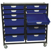 "StorSystem Metal Tote Cart CE2303CL-6S6D - 12 Extra Wide Clear Totes 21-7/8"" x 17-7/8"" x 75-1/8"""