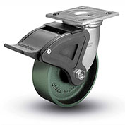 "Colson® 4 Series Swivel Plate Caster 4.04109.139 BRK4 Cast Iron With Brake 4"" Dia. 1000 Lb."