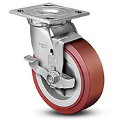 "Colson® 4 Series Swivel Plate Caster 4.04109.929 BRK7 SS Poly With Brake 4"" Dia. 600 Lb."