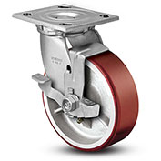 "Colson® 4 Series Swivel Plate Caster 4.05109.949.7 BRK7 Polyurethane With Brake 5"" Dia. 1000 Lb"