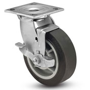 "Colson® 4 Series Swivel Plate Caster 4.06109.459.2 BRK7 Rubber Top Lock Brake 6"" Dia. 600 Lb."