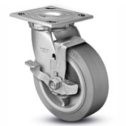 "Colson® 4 Series Swivel Plate Caster 4.06109.459 BRK7 Rubber Top Lock Brake 6"" Dia. 600 Lb."