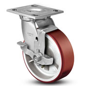 "Colson® 4 Series Swivel Plate Caster 4.06109.949.7 BRK7 Polyurethane With Brake 6"" Dia. 1200 Lb"