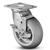 "Colson® 4 Series Swivel Plate Caster 4.08199.559 BRK7 Rubber Top Lock Brake 8"" Dia. 600 Lb."