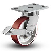 "Colson® 6 Series Swivel Plate Caster 6.05289.949.7 BRK1 Polyurethane With Brake 5"" Dia. 1000 Lb"