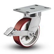 "Colson® 6 Series Swivel Plate Caster 6.08289.949.7 BRK1 Polyurethane With Brake 8"" Dia. 1500 Lb"