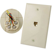 Vertical Cable, 028-045/4C/IV, RJ11 Flush Mount 4 Conductor Wall Plate Ivory