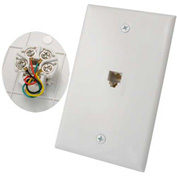 Vertical Cable, 028-046/4C/WH, RJ11 Flush Mount 4 Conductor Wall Plate White
