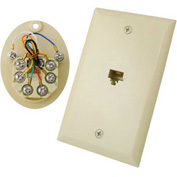 Vertical Cable, 028-067/8C/WH, RJ11 Flush Mount 8 Conductor Wall Plate White
