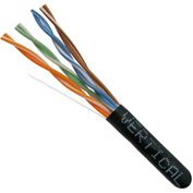 Vertical Cable, 054-444BK, Cat 5E 24AWG UTP 4 Pair Solid Bare Copper 350Mhz Riser Rated PVC Black