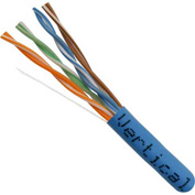 Vertical Cable, 056-461/P/BL, Cat 5E 24AWG UTP 4 Pair Solid Bare Copper 350Mhz CMP Rated PVC Blue