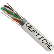 Vertical Cable, 057-474/S/WH, Cat 5E STP 1000' 4 Pair Bulk White-PVC Jacket AWG24 Solid-Bare Copper