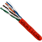 Vertical Cable, 058-481/ST/RD, Cat 5E 24AWG UTP 4 Pair Stranded Bare Copper Red PVC Jacket 350 MHz