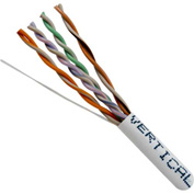 Vertical Cable, 066-552/PBX/WH, Cat 6 24AWG UTP 4 Pair Spline-Less 250Mhz Plenum Rated PVC White