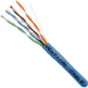 Vertical Cable, 066-555/P/BL, Cat 6 23AWG UTP 4 Pair Spline-Less 550Mhz Plenum Rated PVC Blue