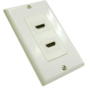 Vertical Cable, 245-WP/2H/180, HDMI Decora Style Wall Plate - 2 Ports, 180 Degrees White