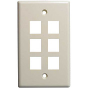 Vertical Cable, 304-J2643/6P/AL, Six (6) Port Keystone Wall Plate (Flush) Almond
