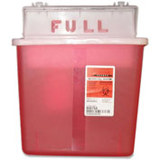 "Covidien 5-Quart SharpStar In-Room Sharps Container, 10-3/4""W x 4-3/4""D x 11""H, Transparent Red"
