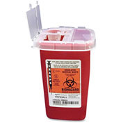"Covidien 1-Quart Phlebotomy Sharps Container with Hinged Lid, 4-1/2""W x 4-1/4""D x 6-1/4""H, Red"