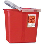 "Covidien 2-Gallon Biohazard Sharps Container with Hinged Lid, 10-1/2""W x 7-1/4""D x 10""H, Red"