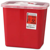 "Covidien 2-Gallon Biohazard Sharps Container with Rotor Opening Lid, 10-1/2""W x 7-1/4""D x 10""H, Red"