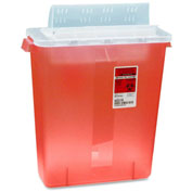 "Covidien 3-Gallon Biohazard Sharps Container with Lid, 13-3/4""W x 6""D x 16-1/4""H, Transparent Red"