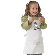 Chef Works Kid's W/Bib Apron W/Grill Screen Print, White A3302WHT0
