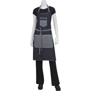 Chef Works  AB032IBL0 Bronx Bib Apron W/Scoop Neck And Rivets, Indigo Blue, 34