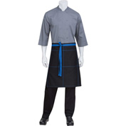 "Chef Works®  AW034B1B0 - Wide Half Bistro Apron W/Topstitch & Tie, Black W/Blue, 24""L x 32""W"