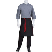"Chef Works®  AW034B2R0 - Wide Half Bistro Apron W/Ties & Topstitch, Black W/Red, 24""L x 32""W"