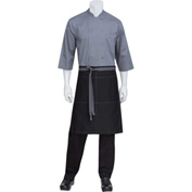 "Chef Works®  AW034B3G0 - Wide Half Bistro Apron W/Ties & Topstitch, Black W/Gray, 24""L x 32""W"