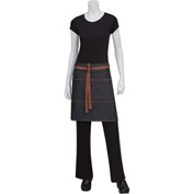 "Chef Works®  AW048BLK0 - Memphis Half Bistro Apron W/Ties, Denim, Black, 19""L x 28-1/2""W"