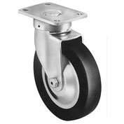 "Darnell-Rose Stainless Swivel Plate Caster With Brake 619308 Neoprene Rubber 5"" Dia. 200 Lb. Cap."