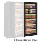 Rotary File Cabinet Adder Unit, Letter, 6 Shelves, Black