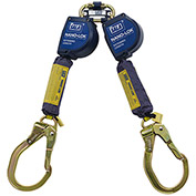 Nano-Lok™ Extended Twin-Leg Self Retract Lifeline, Steel Locking Rebar Hook, Quick Connect, 9'