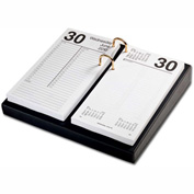 "DACASSO® Classic Black Leather 3.5"" x 6"" Calendar Holder with Gold Accents"