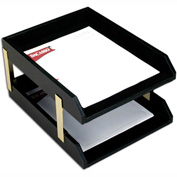 DACASSO® Classic Black Leather Front-load Letter Trays with Gold Stacking Posts