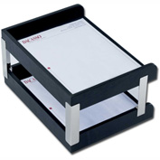 DACASSO® Classic Black Leather Double Side-Load Letter Trays with Silver Posts