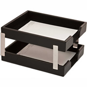 DACASSO® Econo-Line Black Leather Double Letter Trays