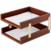 DACASSO® Rustic Brown Leather Double Legal-Size Trays