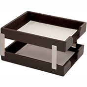 DACASSO® Econo-Line Dark Brown Leather Double Letter Trays