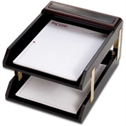DACASSO® Walnut & Leather Double Letter Trays