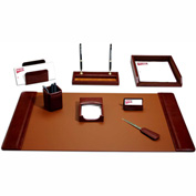 DACASSO® Mocha Leather 8-Piece Desk Set