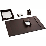 DACASSO® Brown Leather 5-Piece Econo-Line Desk Set