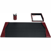 DACASSO® Burgundy Contemporary Leather 3-Piece Desk Set