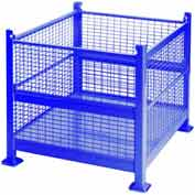 "Davco Wire Mesh Steel Container R2GW-01 - 40-1/2""x34-1/2""x32"" 2 Gates Blue"