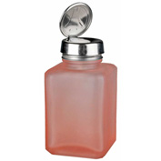 Menda 35381 One-Touch Stainless Steel Liquid Dispenser Square Frosted Glass Bottle Pink 6 oz